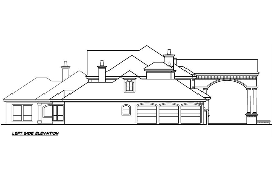 Home Plan Left Elevation of this 5-Bedroom,6969 Sq Ft Plan -195-1167