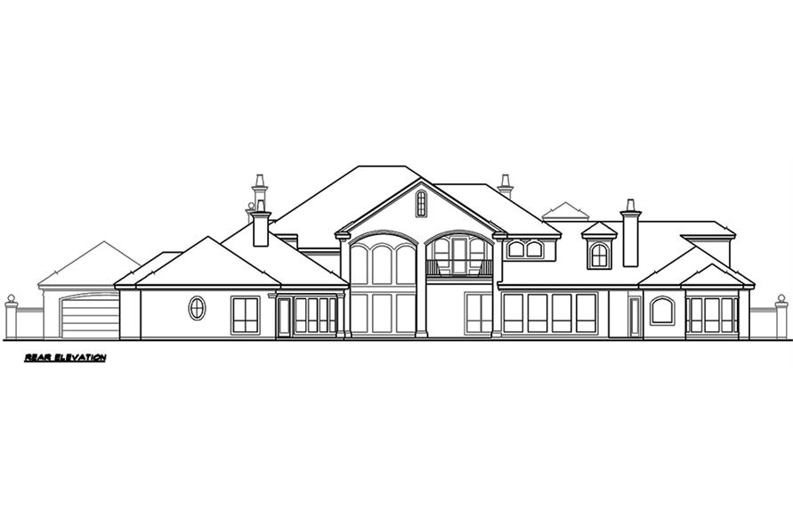 Home Plan Rear Elevation of this 5-Bedroom,6969 Sq Ft Plan -195-1167