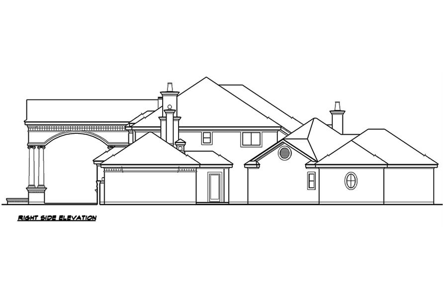 Home Plan Right Elevation of this 5-Bedroom,6969 Sq Ft Plan -195-1167