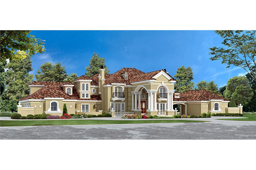 5-Bedroom, 6969 Sq Ft Mediterranean House Plan - 195-1167 - Front Exterior