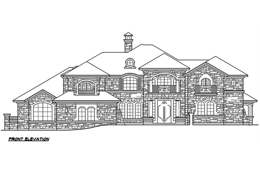 Home Plan Front Elevation of this 4-Bedroom,6903 Sq Ft Plan -195-1168
