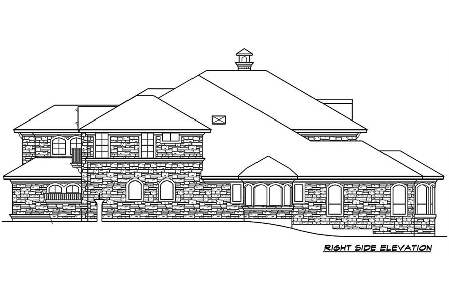 Home Plan Right Elevation of this 4-Bedroom,6903 Sq Ft Plan -195-1168