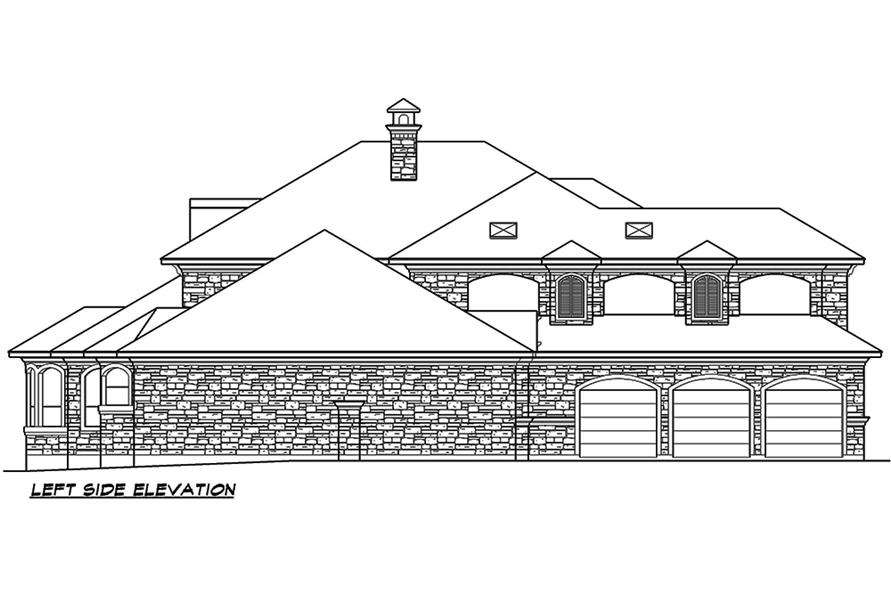 Home Plan Left Elevation of this 4-Bedroom,6903 Sq Ft Plan -195-1168