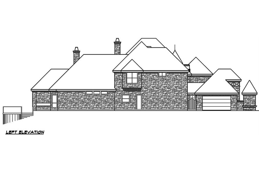 Home Plan Left Elevation of this 5-Bedroom,7823 Sq Ft Plan -195-1169