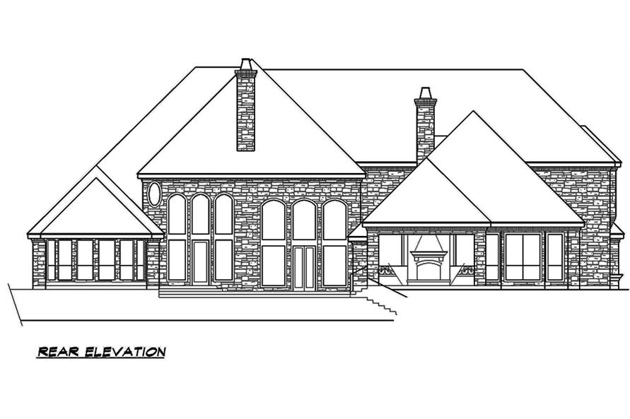 Home Plan Rear Elevation of this 5-Bedroom,7823 Sq Ft Plan -195-1169
