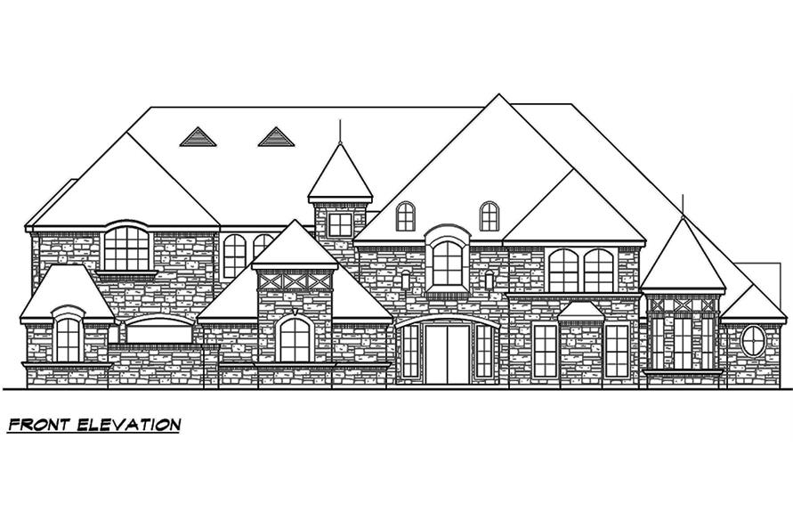 Home Plan Front Elevation of this 5-Bedroom,7823 Sq Ft Plan -195-1169