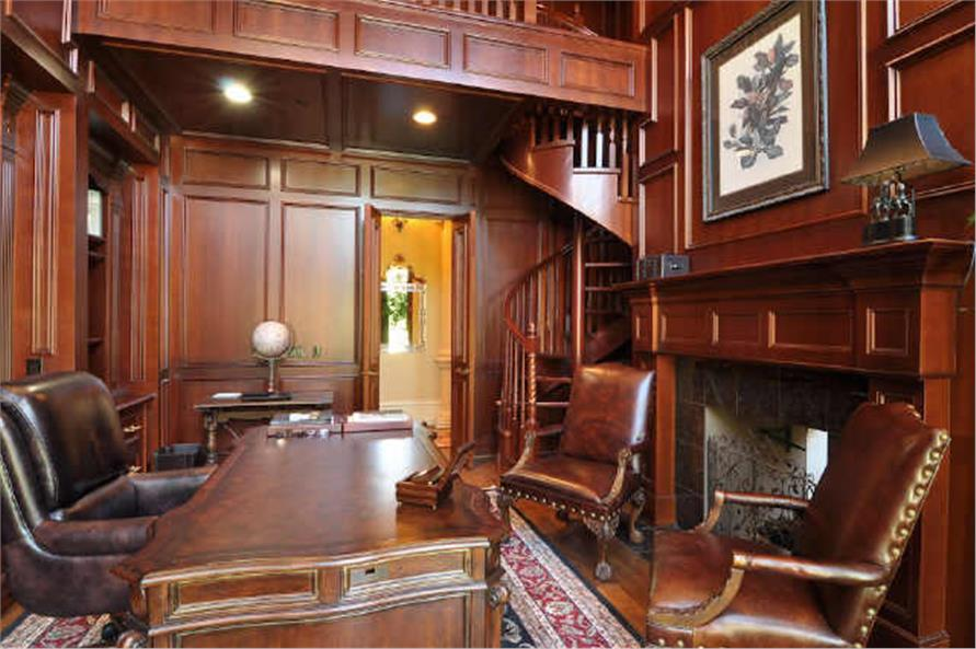 Home Office: Library of this 5-Bedroom,7823 Sq Ft Plan -7823