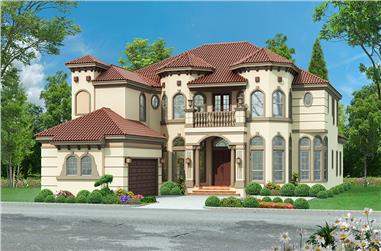 Front elevation of Mediterranean home (ThePlanCollection: House Plan #195-1151)