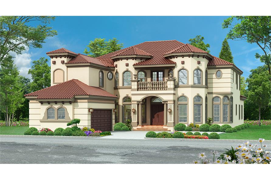 Mediterranean Front Elevation : Bedrm sq ft mediterranean house plan