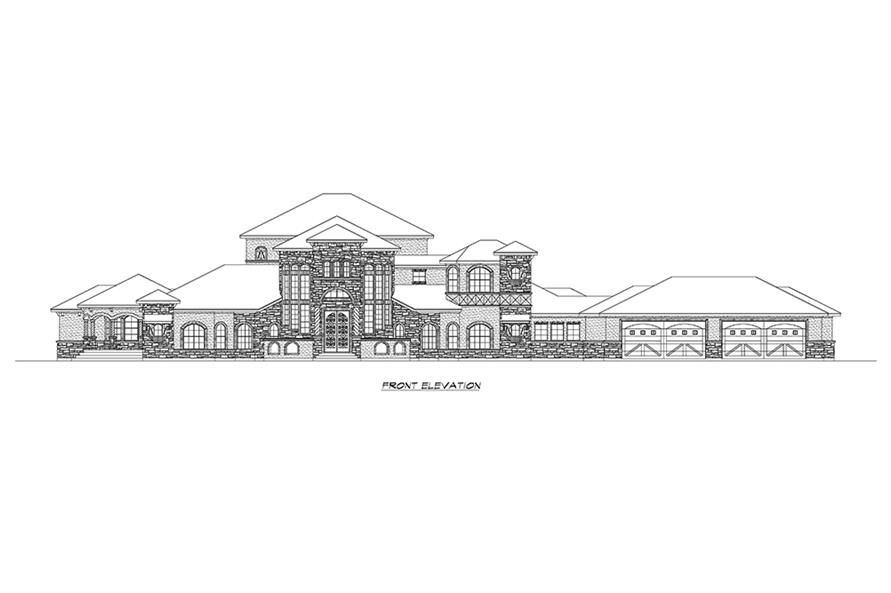 Home Plan Front Elevation of this 5-Bedroom,6121 Sq Ft Plan -195-1173