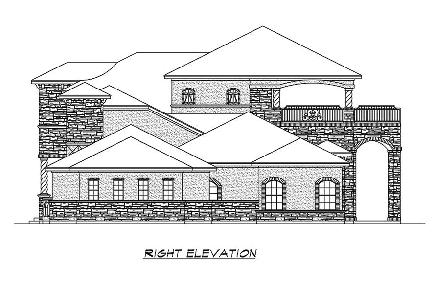 Home Plan Right Elevation of this 5-Bedroom,6121 Sq Ft Plan -195-1173