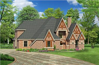 3-Bedroom, 3965 Sq Ft Tudor House Plan - 195-1174 - Front Exterior