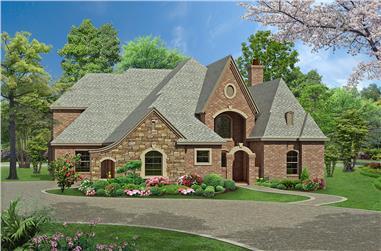 3-Bedroom, 3965 Sq Ft Tudor House Plan - 195-1175 - Front Exterior