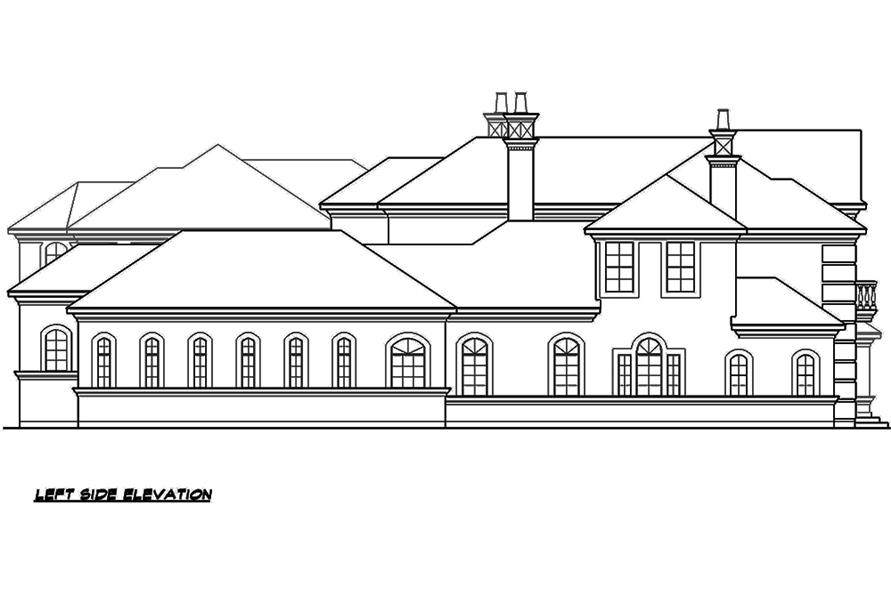 Home Plan Left Elevation of this 5-Bedroom,9832 Sq Ft Plan -195-1176