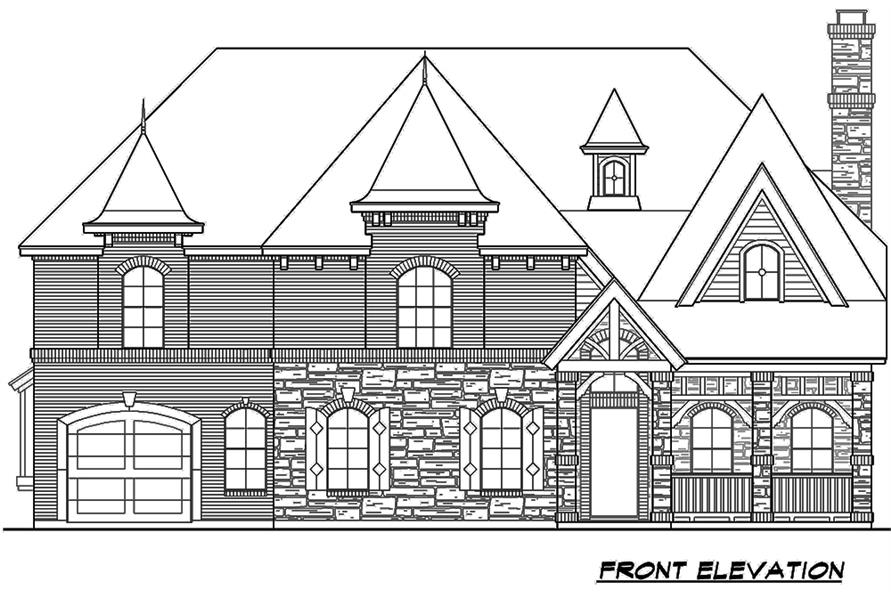 Home Plan Front Elevation of this 5-Bedroom,3116 Sq Ft Plan -195-1178