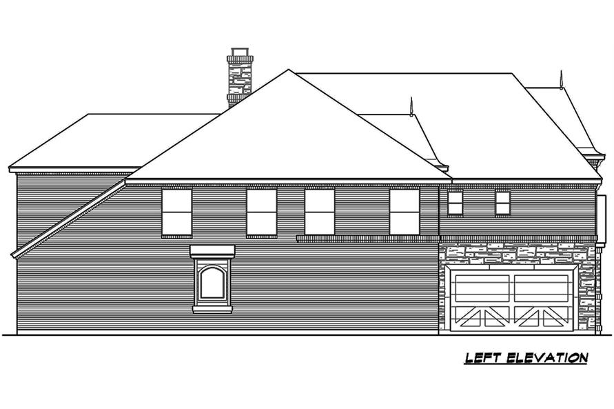 Home Plan Left Elevation of this 5-Bedroom,3116 Sq Ft Plan -195-1178