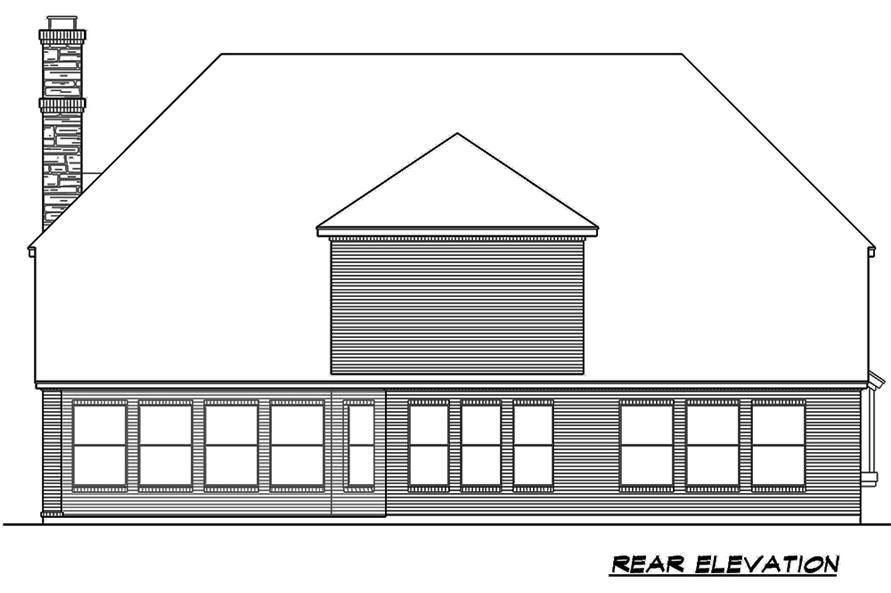 Home Plan Rear Elevation of this 5-Bedroom,3116 Sq Ft Plan -195-1178