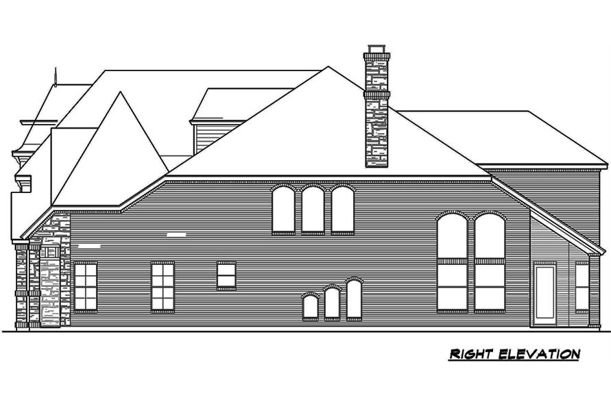 Home Plan Right Elevation of this 5-Bedroom,3116 Sq Ft Plan -195-1178