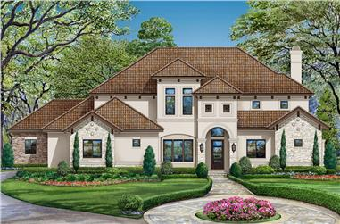 4-Bedroom, 3692 Sq Ft Mediterranean Home Plan - 195-1179 - Main Exterior
