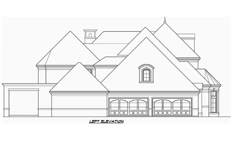 Home Plan Left Elevation of this 5-Bedroom,8988 Sq Ft Plan -195-1180