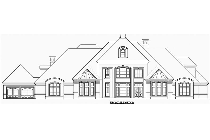 Home Plan Front Elevation of this 5-Bedroom,8988 Sq Ft Plan -195-1180