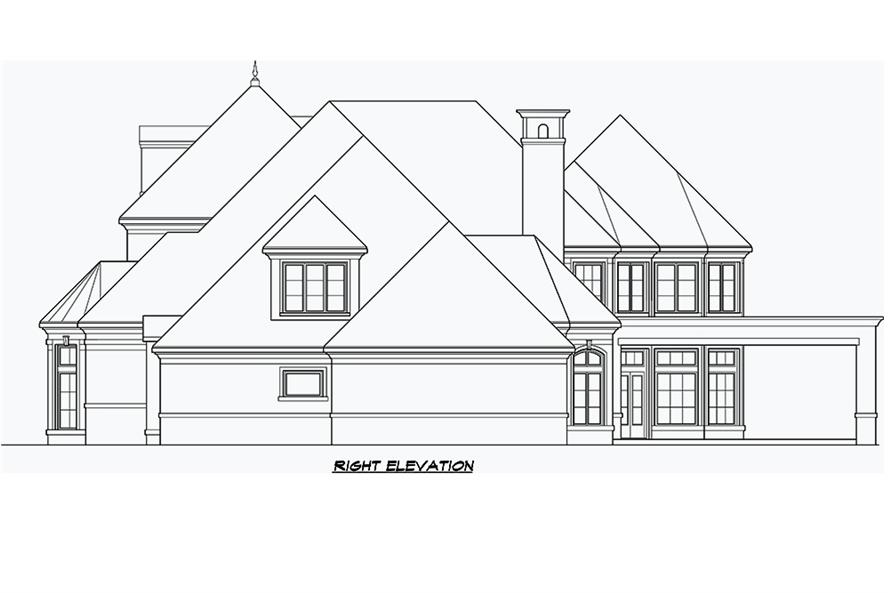 Home Plan Right Elevation of this 5-Bedroom,8988 Sq Ft Plan -195-1180