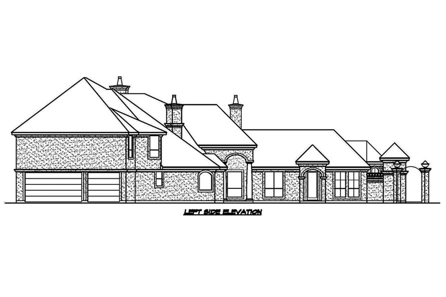 Home Plan Left Elevation of this 3-Bedroom,4356 Sq Ft Plan -195-1181