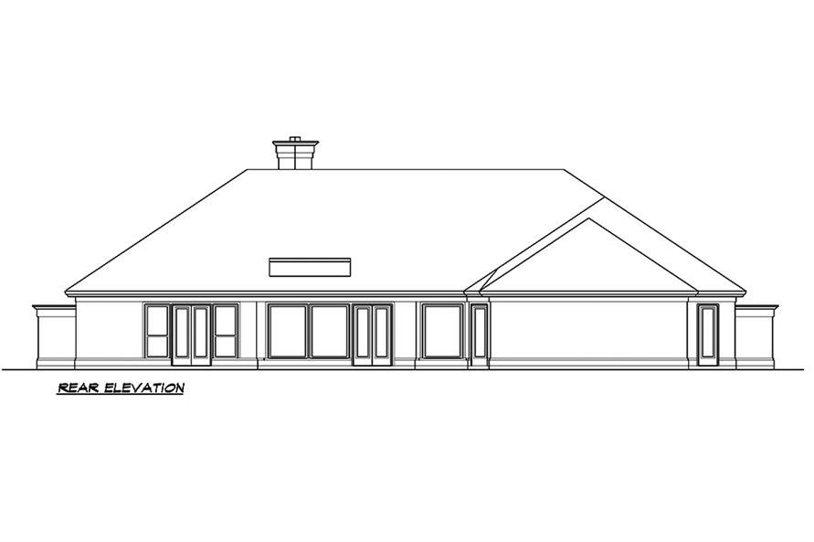 Home Plan Rear Elevation of this 3-Bedroom,4085 Sq Ft Plan -195-1182