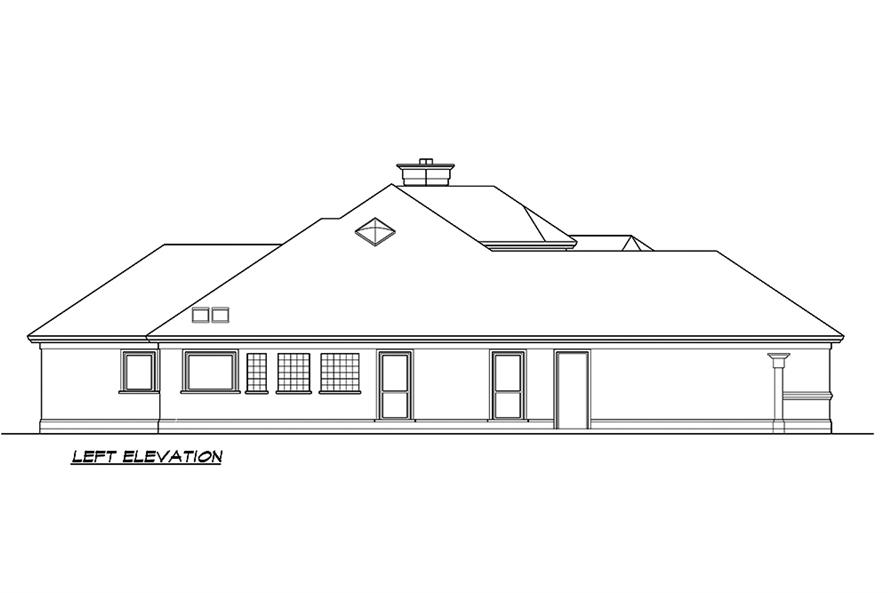 Home Plan Left Elevation of this 3-Bedroom,4085 Sq Ft Plan -195-1182