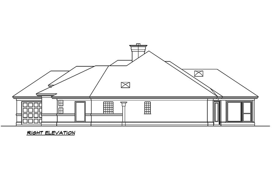 Home Plan Right Elevation of this 3-Bedroom,4085 Sq Ft Plan -195-1182