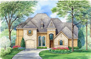 4-Bedroom, 4198 Sq Ft French House Plan - 195-1183 - Front Exterior