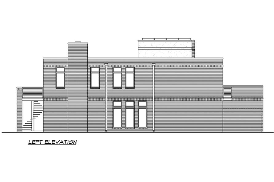 Home Plan Left Elevation of this 4-Bedroom,3785 Sq Ft Plan -195-1185