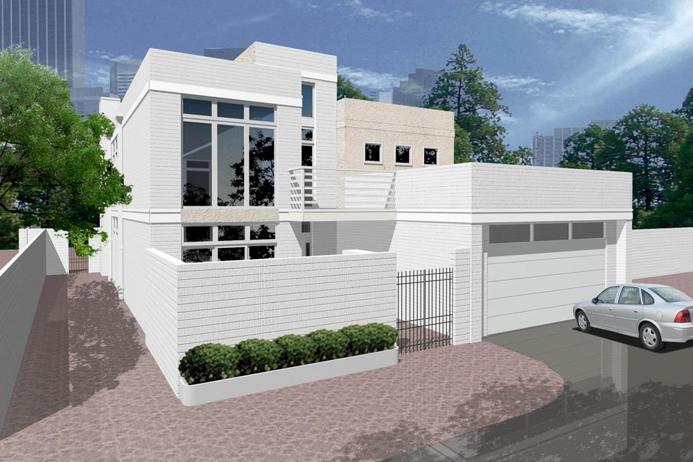 Front elevation of Concrete Block/ ICF Design home (ThePlanCollection: House Plan #195-1185)