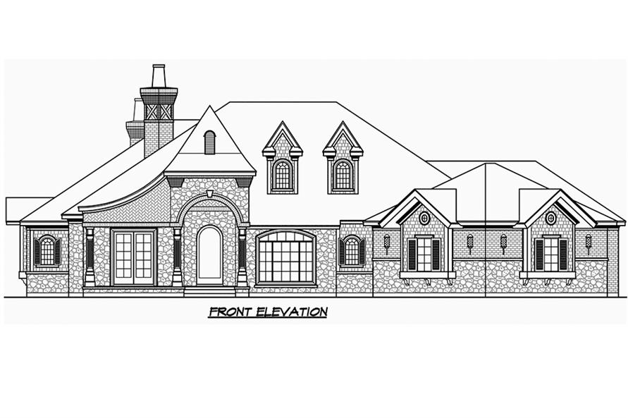 Home Plan Front Elevation of this 3-Bedroom,3251 Sq Ft Plan -195-1186