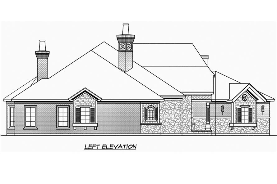 Home Plan Left Elevation of this 3-Bedroom,3251 Sq Ft Plan -195-1186