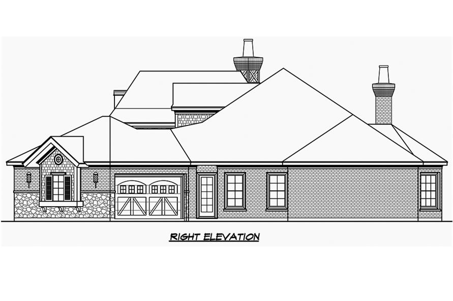 Home Plan Right Elevation of this 3-Bedroom,3251 Sq Ft Plan -195-1186