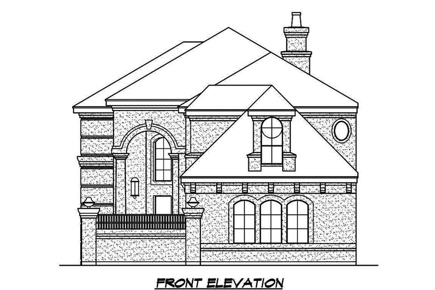 Home Plan Front Elevation of this 3-Bedroom,3979 Sq Ft Plan -195-1187