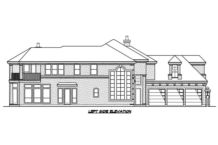 Home Plan Left Elevation of this 3-Bedroom,3979 Sq Ft Plan -195-1187