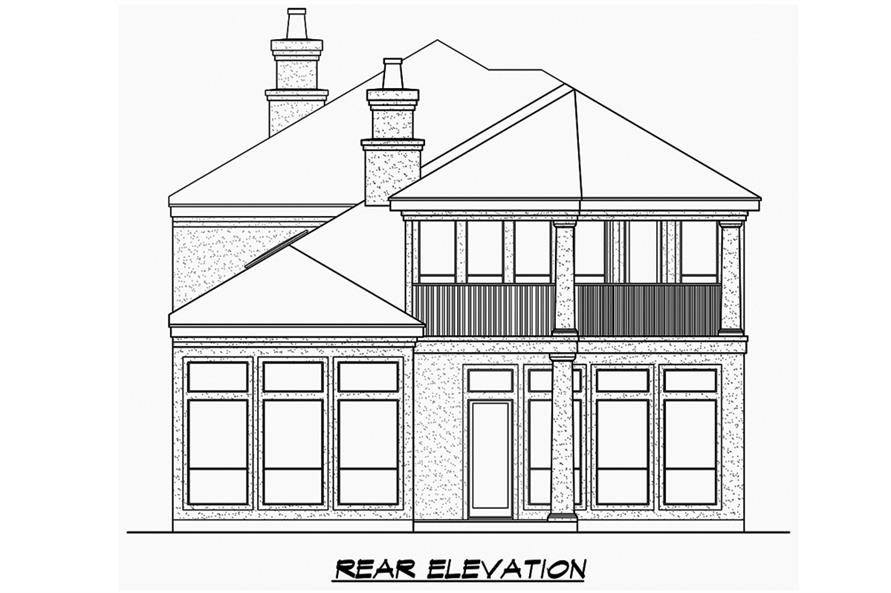 Home Plan Rear Elevation of this 3-Bedroom,3979 Sq Ft Plan -195-1187