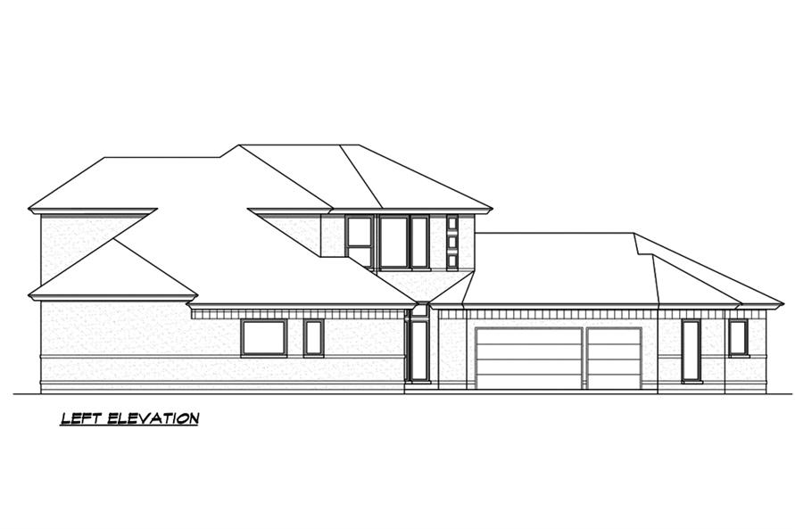 Home Plan Left Elevation of this 3-Bedroom,3240 Sq Ft Plan -195-1189