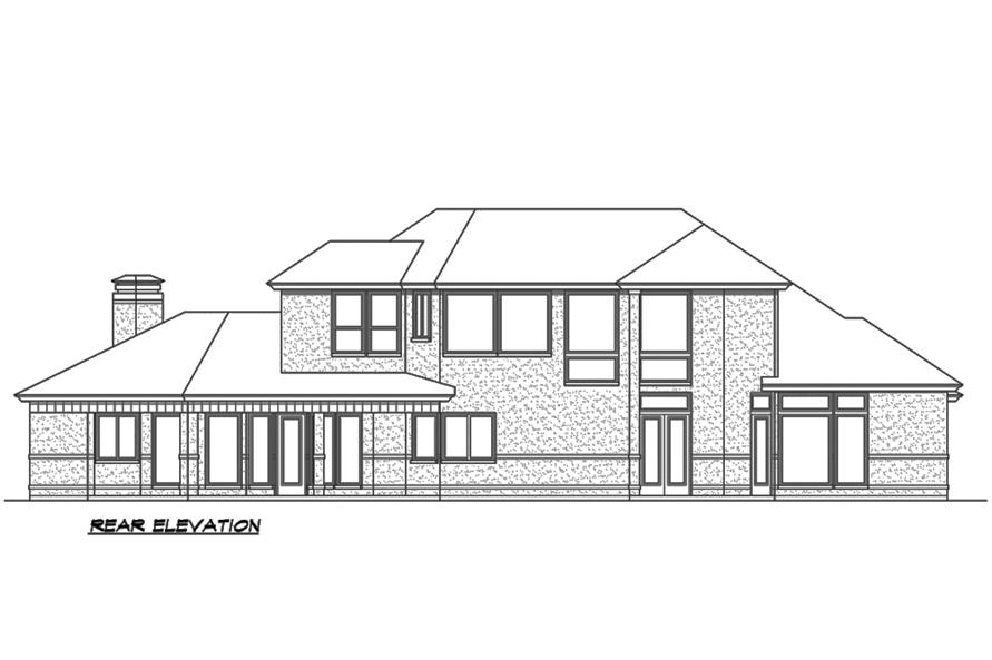 Home Plan Rear Elevation of this 3-Bedroom,3240 Sq Ft Plan -195-1189