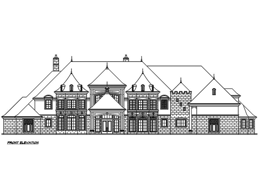 Home Plan Front Elevation of this 5-Bedroom,8468 Sq Ft Plan -195-1190