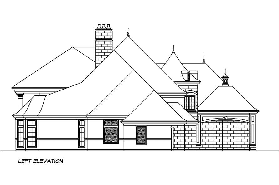 Home Plan Left Elevation of this 5-Bedroom,8468 Sq Ft Plan -195-1190