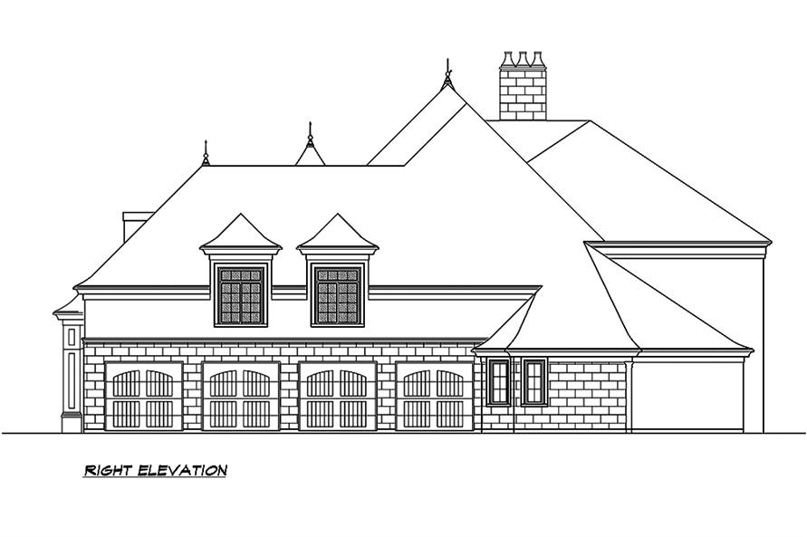 Home Plan Right Elevation of this 5-Bedroom,8468 Sq Ft Plan -195-1190