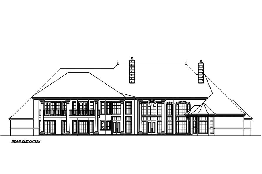 Home Plan Rear Elevation of this 5-Bedroom,8468 Sq Ft Plan -195-1190