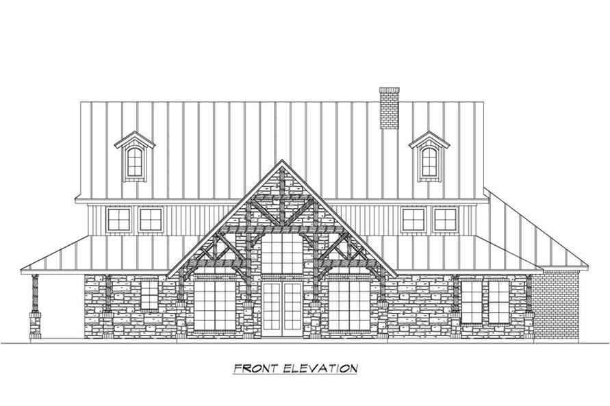 Home Plan Front Elevation of this 4-Bedroom,3123 Sq Ft Plan -195-1191