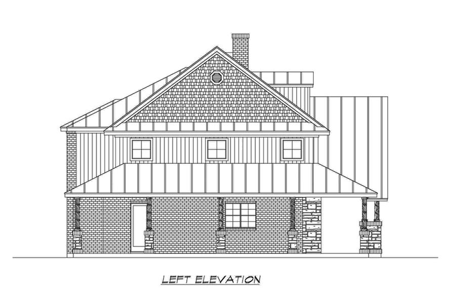 Home Plan Left Elevation of this 4-Bedroom,3123 Sq Ft Plan -195-1191