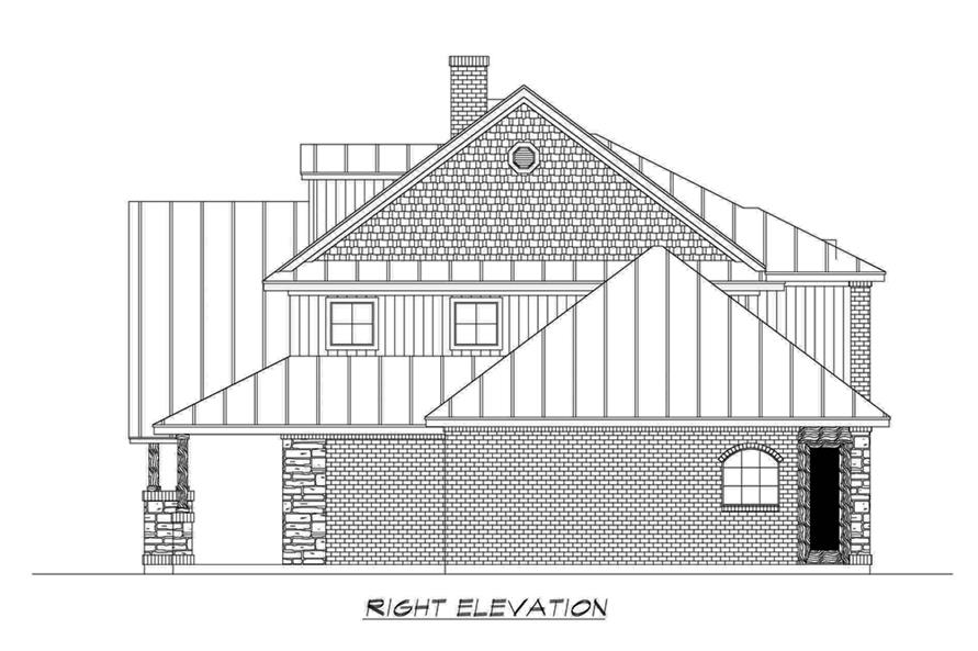 Home Plan Right Elevation of this 4-Bedroom,3123 Sq Ft Plan -195-1191
