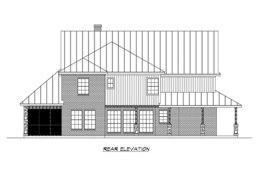 Home Plan Rear Elevation of this 4-Bedroom,3123 Sq Ft Plan -195-1191
