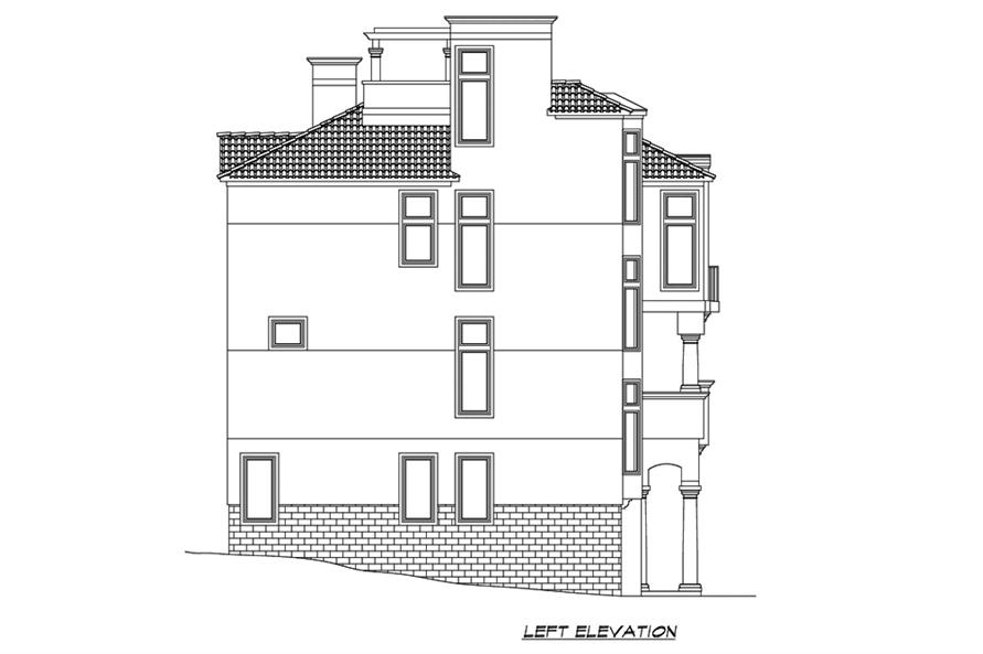 Home Plan Left Elevation of this 4-Bedroom,4225 Sq Ft Plan -195-1192